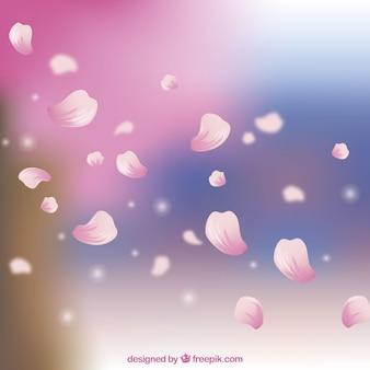 Fondo de pétalos de flor de cerezo en estilo realista