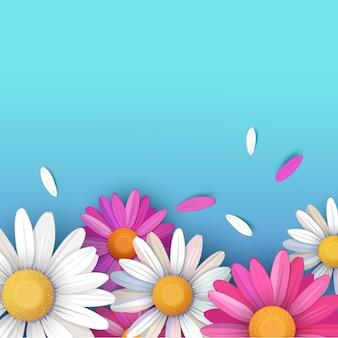 Fondo con pétalos y flores de margarita de colores sobre fondo turquesa