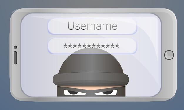Fondo de phishing de contraseña de inicio de sesión, estilo de dibujos animados