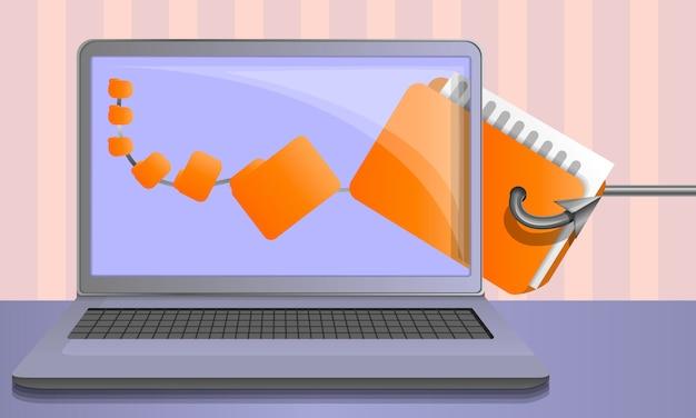 Fondo de phishing de datos personales, estilo de dibujos animados