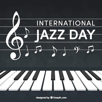 Fondo de piano con notas musicales