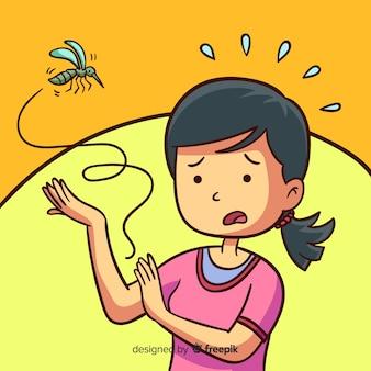 Fondo picadura mosquito dibujos animados