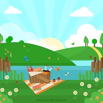 Fondo picnic cerca del río en diseño plano