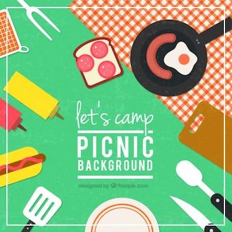 Fondo de picnic en diseño plano