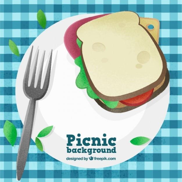 Fondo de picnic con sandwich delicioso