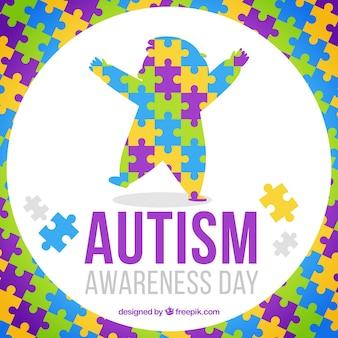 Fondo de piezas de puzzle de colores para el día del autismo