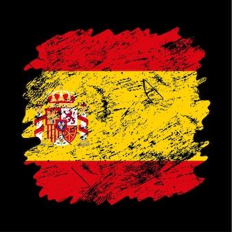 Fondo de pincel de grunge de bandera de españa. ilustración de vector de bandera de pincel viejo. concepto abstracto de origen nacional.