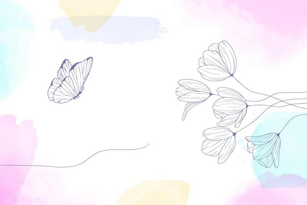 Fondo pintado en acuarela con flores dibujadas a mano