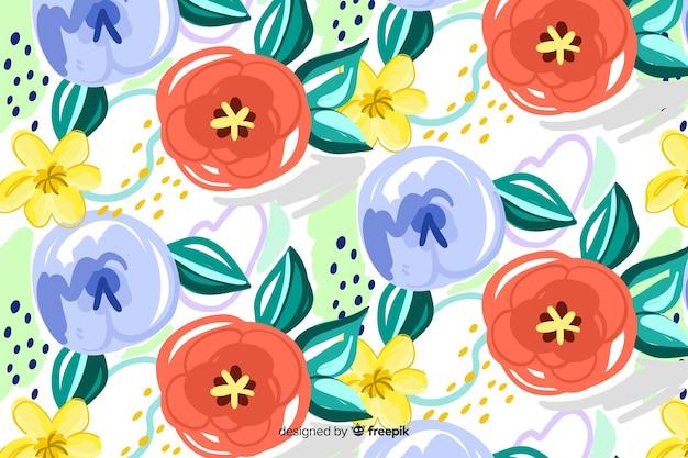Fondo pintado de flores con formas abstractas