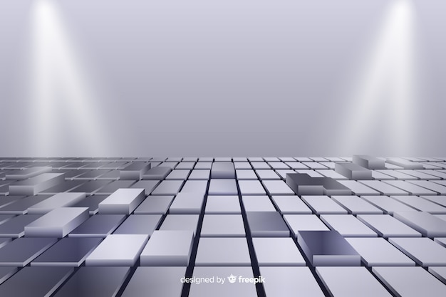 Fondo de piso de cubos brillantes realistas