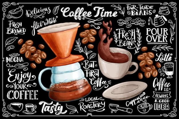 Fondo de pizarra con café