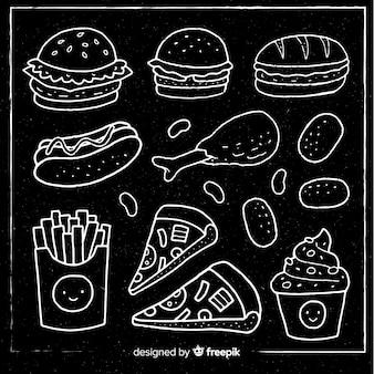 Fondo pizarra comida rápida
