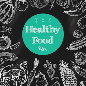 Fondo de pizarra de dieta de alimentos saludables con frutas y verduras