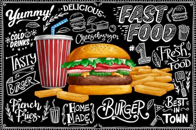 Fondo de pizarra con hamburguesa