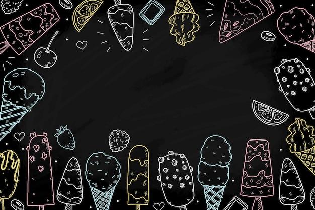 Fondo de pizarra de helado colorido dibujado a mano