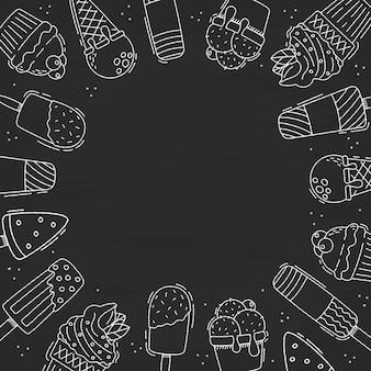 Fondo de pizarra de helado dibujado a mano vector gratuito