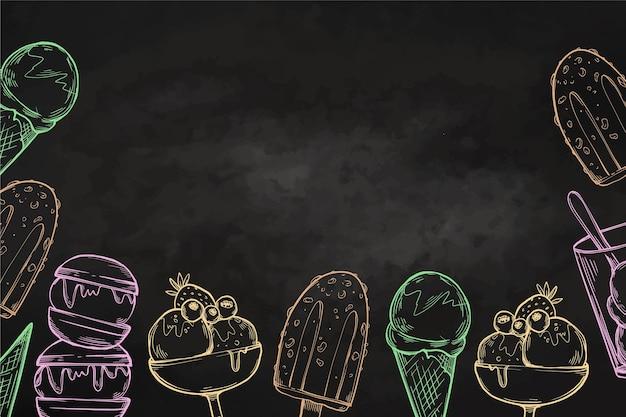 Fondo de pizarra de helado dibujado a mano