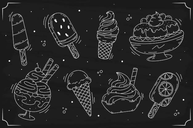 Fondo de pizarra de helado estilo dibujado a mano