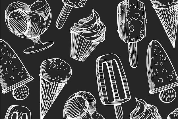 Fondo de pizarra de helado grabado