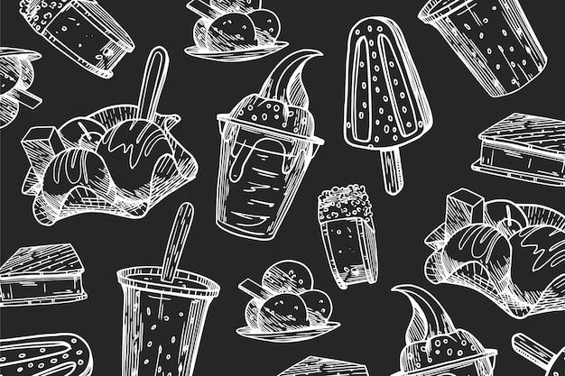 Fondo de pizarra de helado