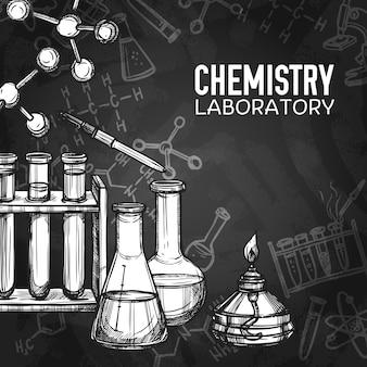 Fondo de pizarra de laboratorio de química
