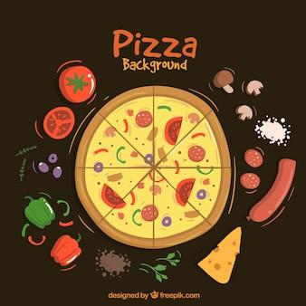 Fondo de pizza con ingredientes
