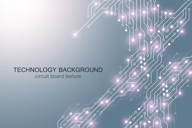 Fondo de placa base de computadora con elementos electrónicos de placa de circuito