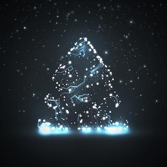 Fondo de placa de circuito, árbol de navidad