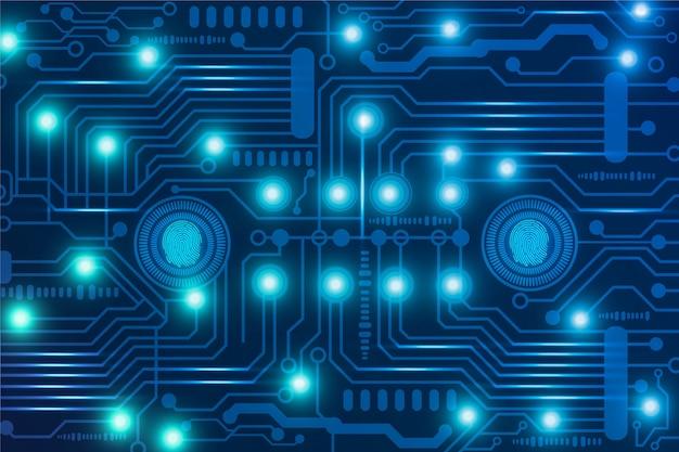 Fondo de placa de circuito de neón