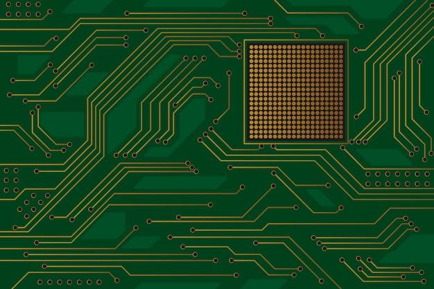 Fondo de placa de circuito verde de alta tecnología con líneas chapadas en oro.