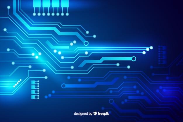 Fondo placa de circuitos estilo plano