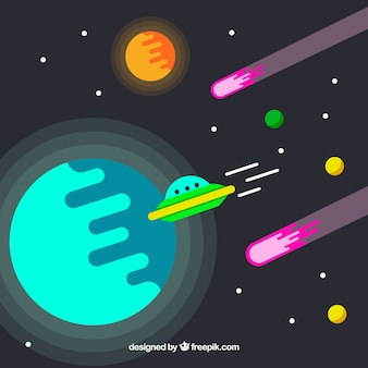 Fondo de planetas y platillo volante