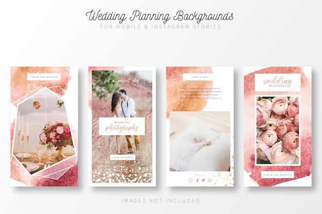 Fondo de planificación de bodas para historias de insta