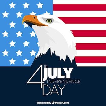 Fondo plano con águila para el día de la independencia de estados unidos