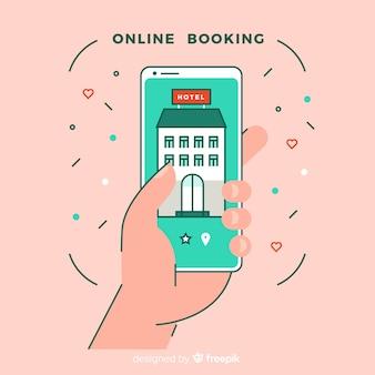 Fondo plano aplicación reserva de hotel