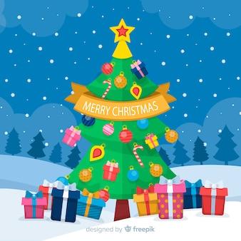 Fondo plano del árbol de navidad