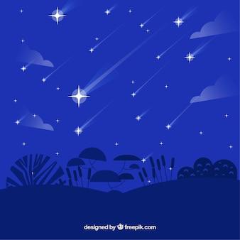 Fondo plano azul con estrellas fugaces