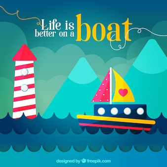 Fondo plano con barco de color y faro