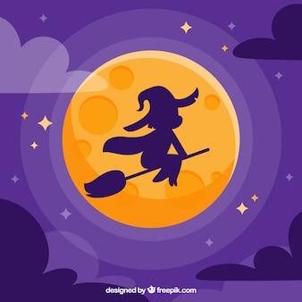 Fondo plano de bruja y luna llena