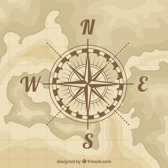 Fondo plano de brújula de mapa