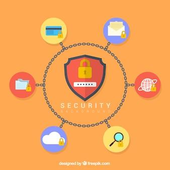 Fondo plano con cadenas y elementos de seguridad