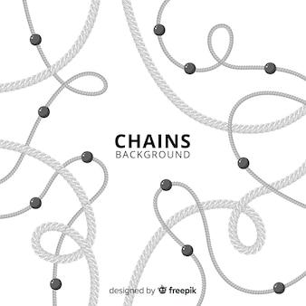 Fondo plano cadenas plateadas
