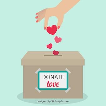 Fondo plano de caja de donación