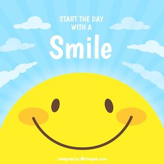 Fondo plano con carita sonriente
