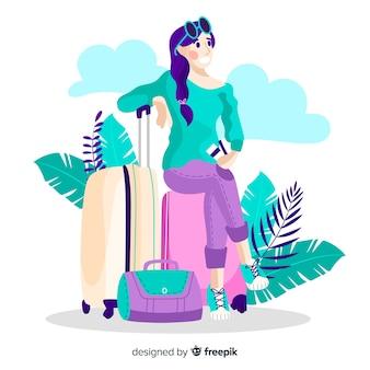 Fondo plano chica viajando