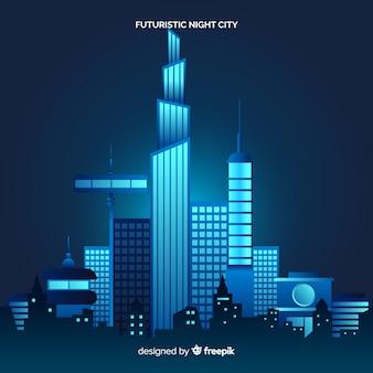 Fondo plano ciudad futurista de noche