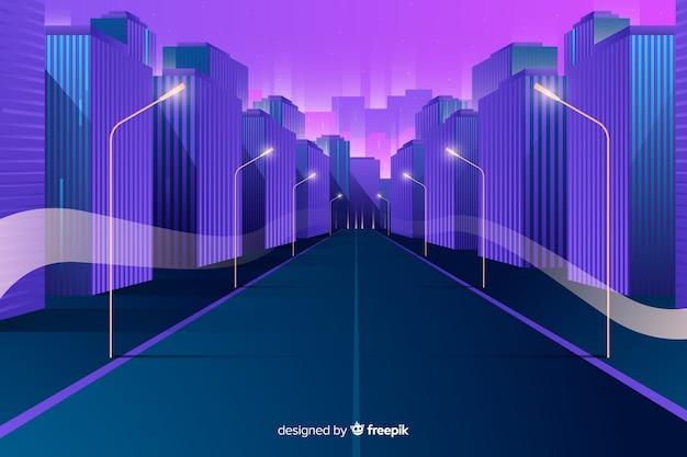 Fondo plano ciudad futurista