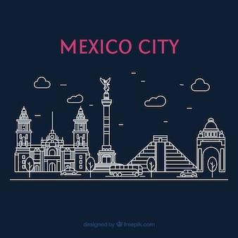 Fondo plano de ciudad de méxico de noche