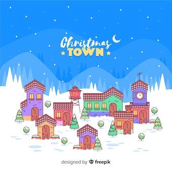 Fondo plano ciudad navidad