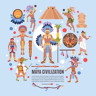 Fondo plano de la civilización maya